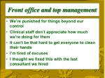 front office and top management