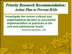 priority research recommendation action plan to prevent hais