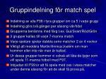 gruppindelning f r match spel