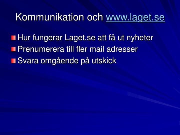 Kommunikation och