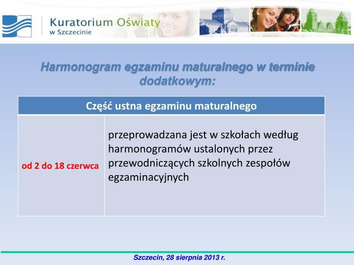 Harmonogram egzaminu maturalnego w terminie