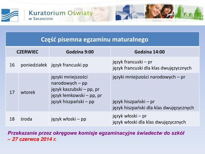 Przekazanie przez okręgowe komisje egzaminacyjne świadectw do szkół