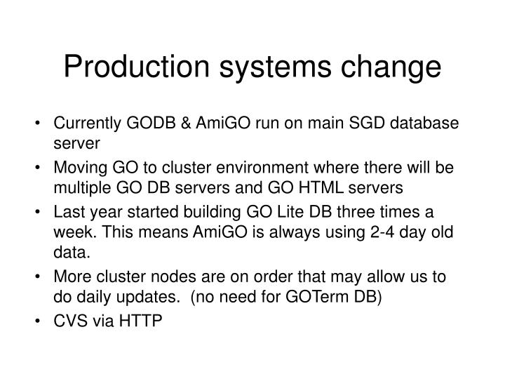 Currently GODB & AmiGO run on main SGD database server