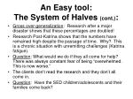 an easy tool the system of halves cont
