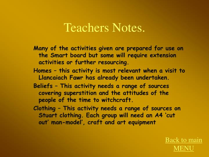 Teachers Notes.