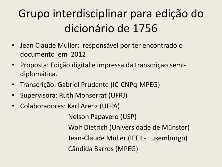 Grupo interdisciplinar para edição do dicionário de 1756