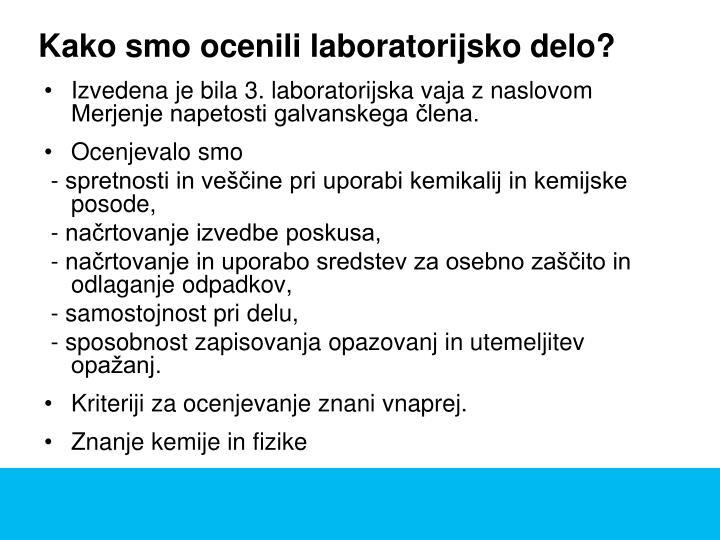 Kako smo ocenili laboratorijsko delo?