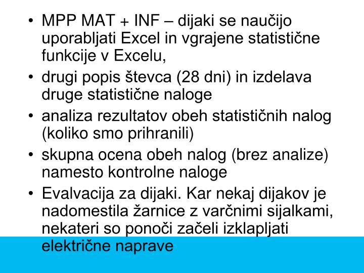 MPP MAT + INF – dijaki se naučijo uporabljati Excel in vgrajene statistične funkcije v Excelu,
