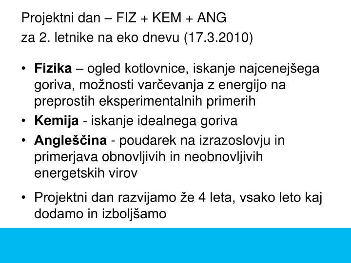 Projektni dan – FIZ + KEM + ANG