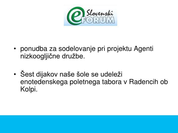 ponudba za sodelovanje pri projektu Agenti nizkoogljične družbe.