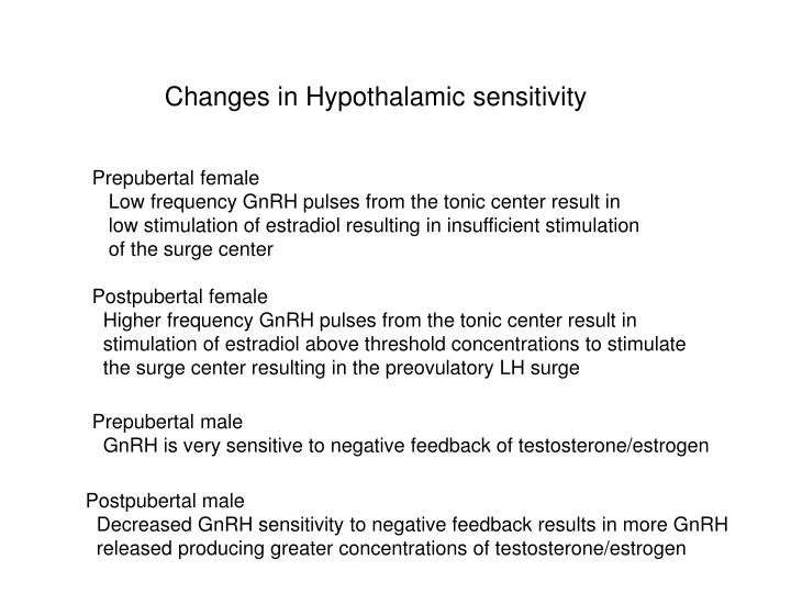 Changes in Hypothalamic sensitivity