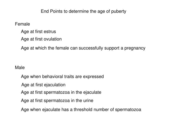End Points to determine the age of puberty