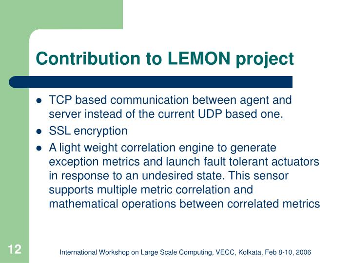 Contribution to LEMON project