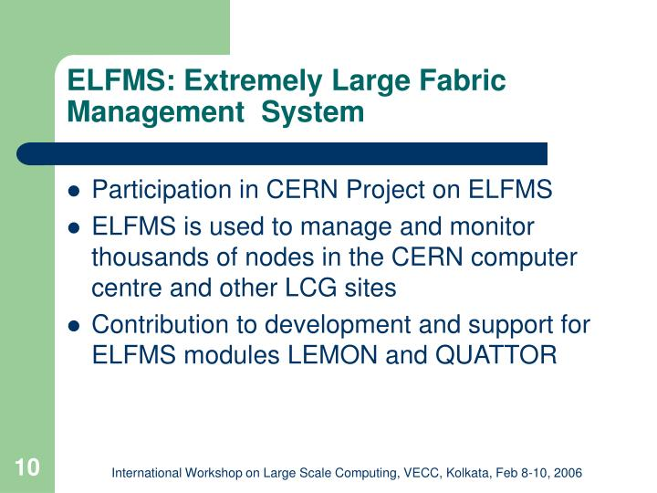 ELFMS: Extremely Large Fabric Management  System