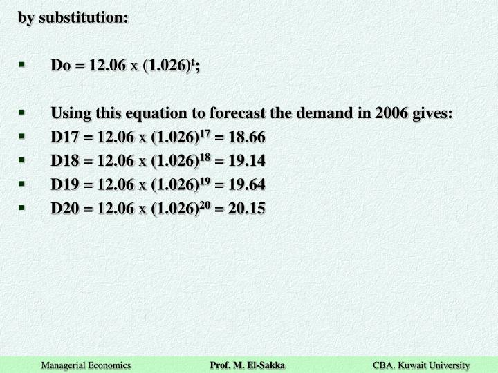 by substitution: