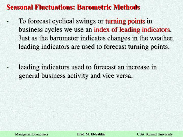 Seasonal Fluctuations: Barometric Methods