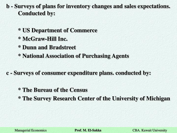 b - Surveys of plans for inventory changes and sales expectations. Conducted by: