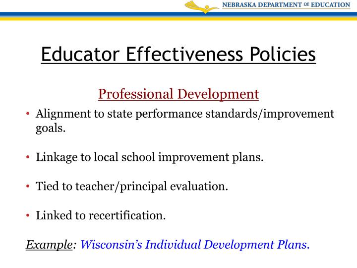 Alignment to state performance standards/improvement goals.
