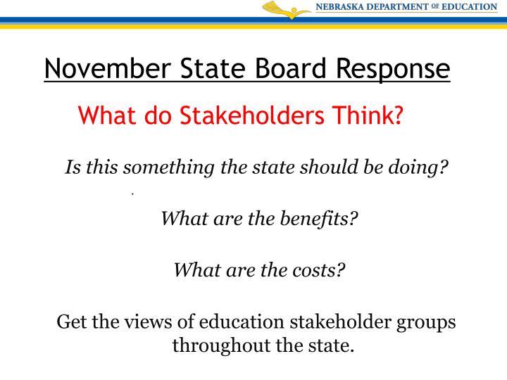 November State Board Response