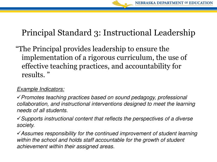 """""""The Principal provides leadership to ensure the implementation of a rigorous curriculum, the use of effective teaching practices, and accountability for results. """""""