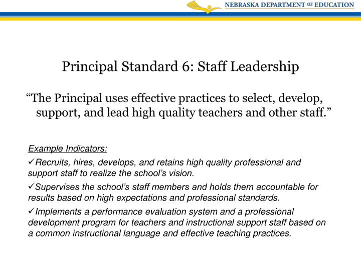 """""""The Principal uses effective practices to select, develop, support, and lead high quality teachers and other staff."""""""