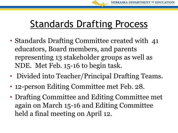 Standards Drafting Committee created with  41 educators, Board members, and parents representing 13 stakeholder groups as well as NDE.  Met Feb. 15-16 to begin task.