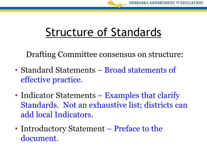 Drafting Committee consensus on structure: