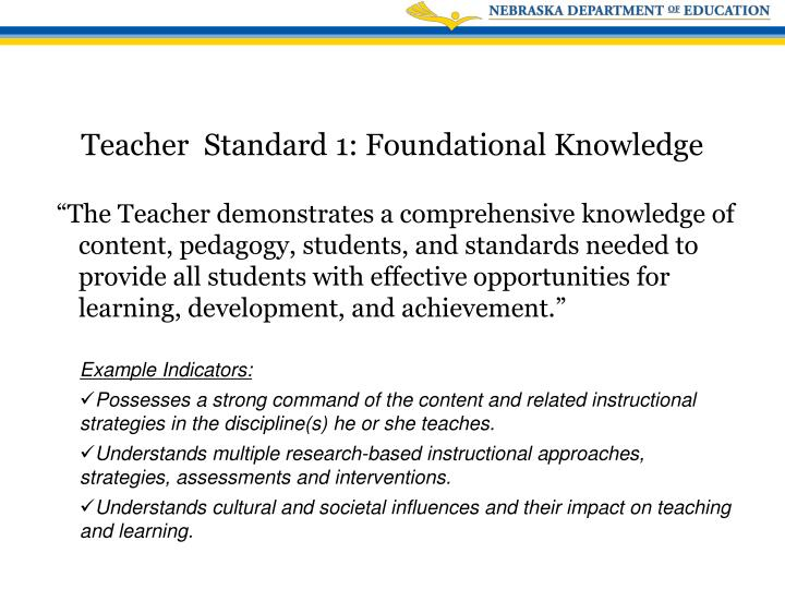 """""""The Teacher demonstrates a comprehensive knowledge of content, pedagogy, students, and standards needed to provide all students with effective opportunities for learning, development, and achievement."""""""