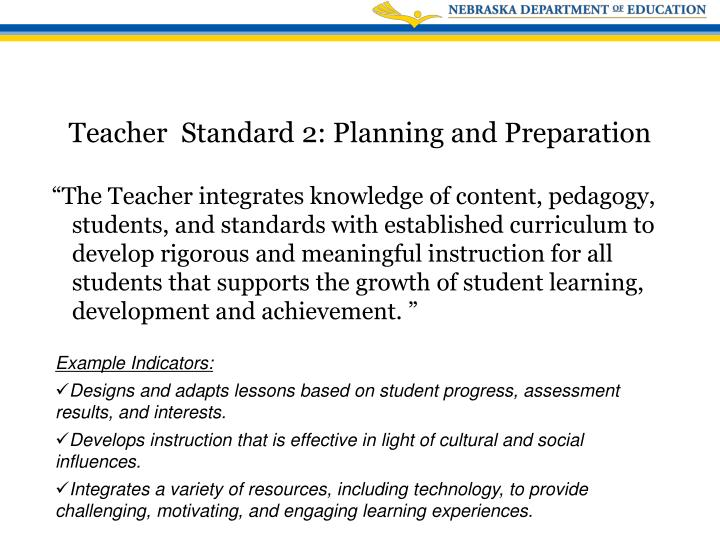 """""""The Teacher integrates knowledge of content, pedagogy, students, and standards with established curriculum to develop rigorous and meaningful instruction for all students that supports the growth of student learning, development and achievement. """""""