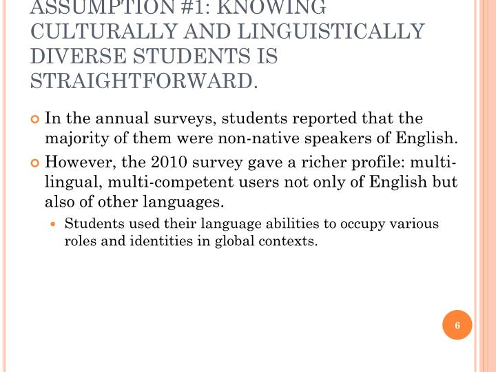 ASSUMPTION #1: KNOWING CULTURALLY AND LINGUISTICALLY DIVERSE STUDENTS IS STRAIGHTFORWARD.