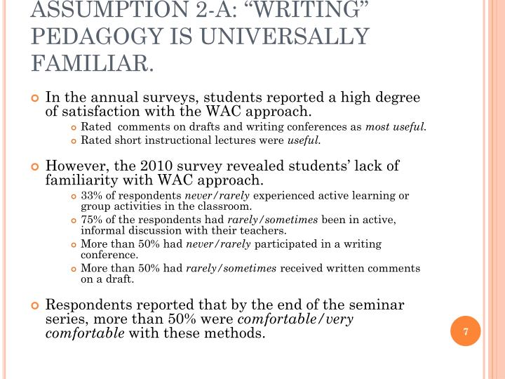 "ASSUMPTION 2-A: ""WRITING"" PEDAGOGY IS UNIVERSALLY FAMILIAR."