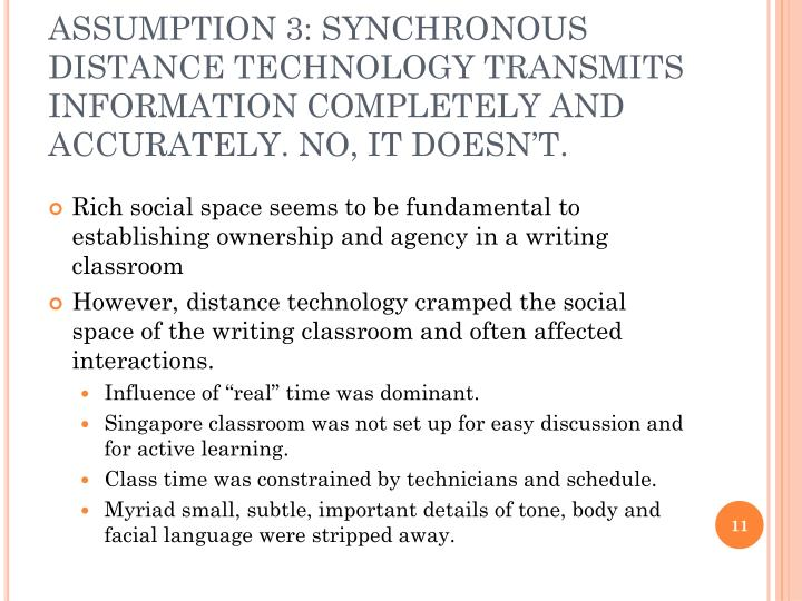 ASSUMPTION 3: SYNCHRONOUS DISTANCE TECHNOLOGY TRANSMITS INFORMATION COMPLETELY AND ACCURATELY. NO, IT DOESN'T.