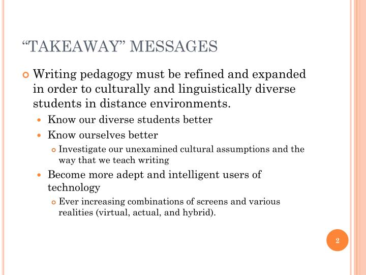 Takeaway messages