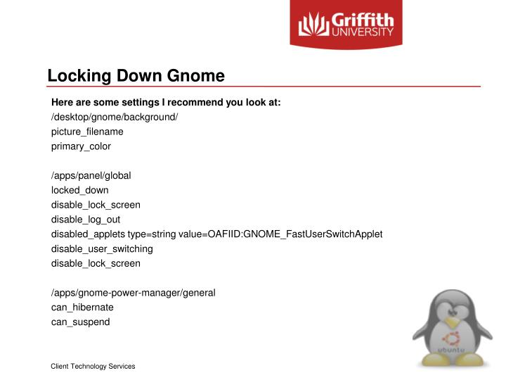 Locking Down Gnome
