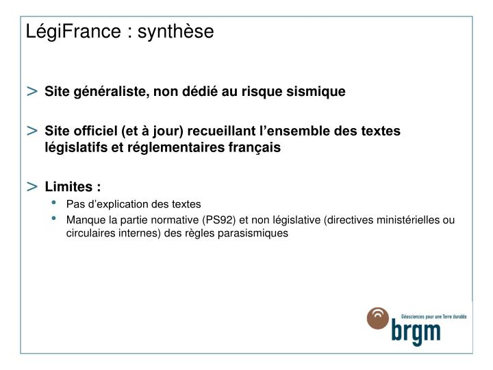 LégiFrance : synthèse