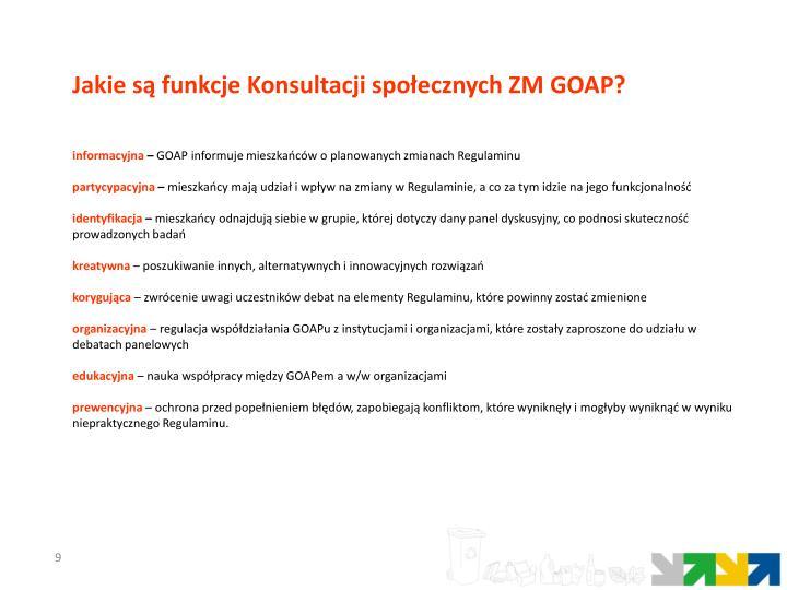 Jakie są funkcje Konsultacji społecznych ZM GOAP?