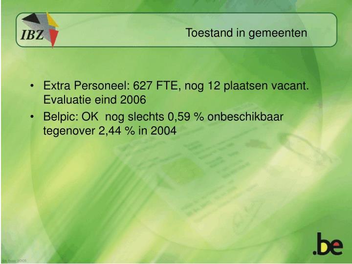 Extra Personeel: 627 FTE, nog 12 plaatsen vacant. Evaluatie eind 2006