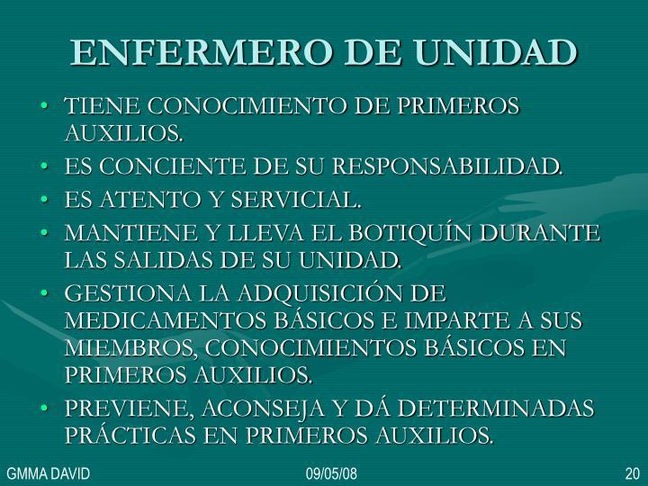 ENFERMERO DE UNIDAD