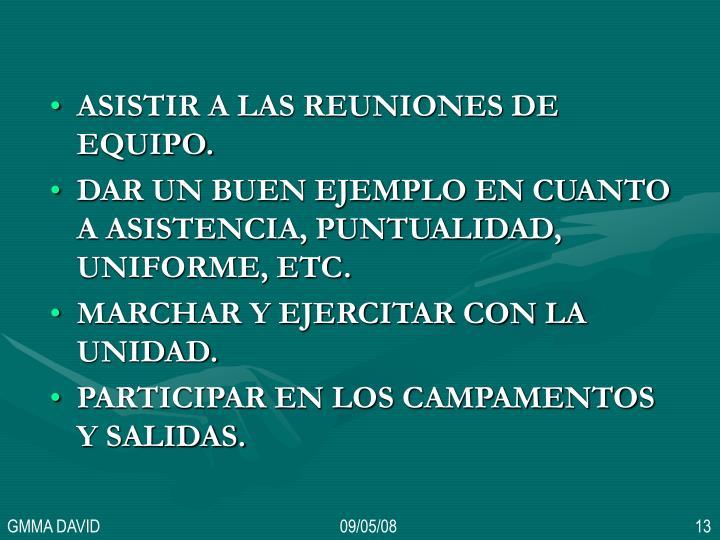 ASISTIR A LAS REUNIONES DE EQUIPO.