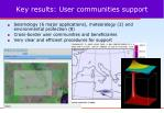 key results user communities support