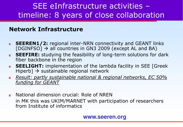 SEE eInfrastructure activities –