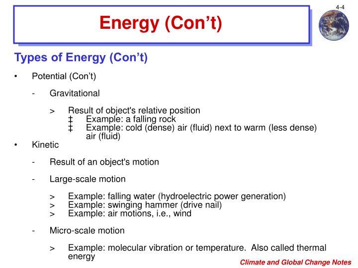 Energy (Con't)