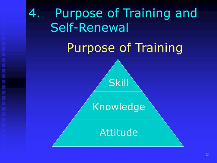 4.	 Purpose of Training and 	Self-Renewal