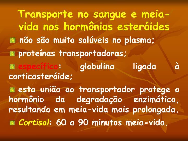 Transporte no sangue e meia-vida nos hormônios esteróides