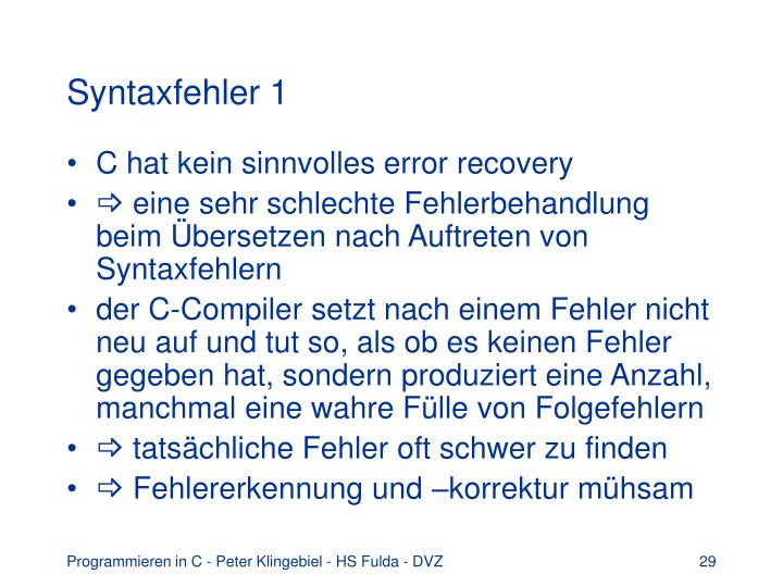 Syntaxfehler 1
