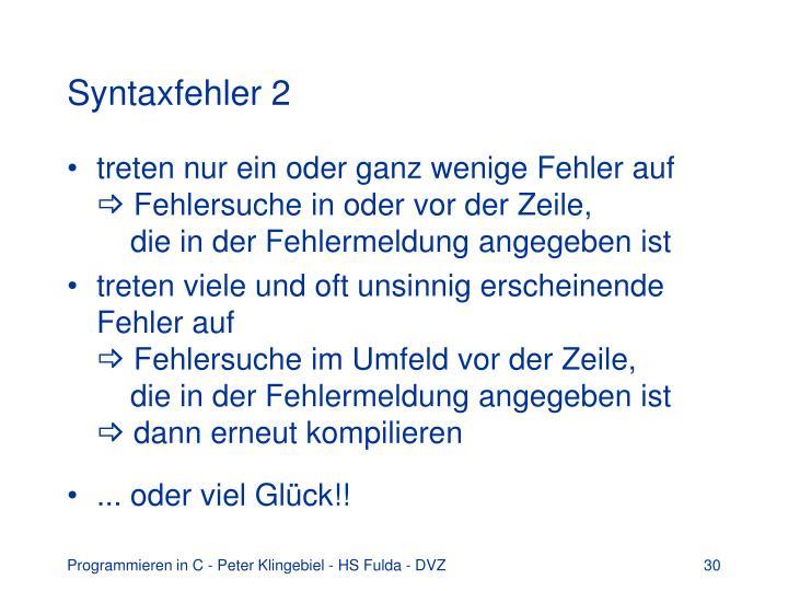 Syntaxfehler 2