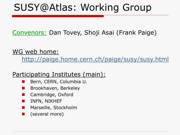 SUSY@Atlas: Working Group