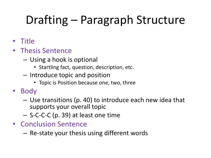 Drafting – Paragraph Structure