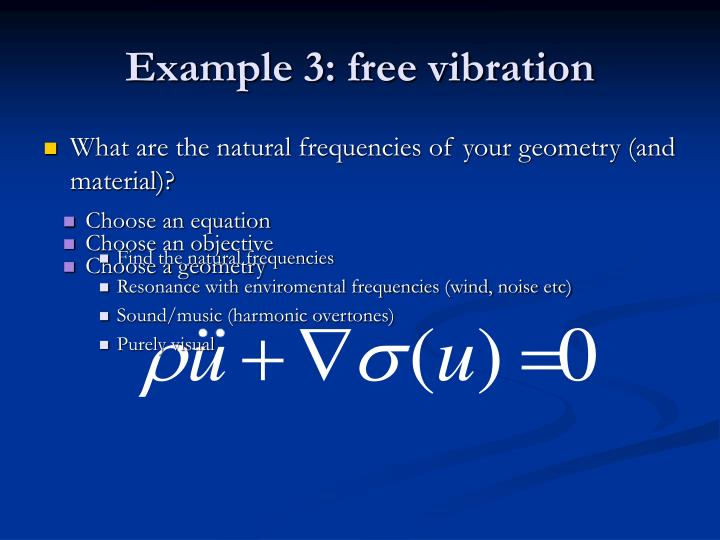 Example 3: free vibration