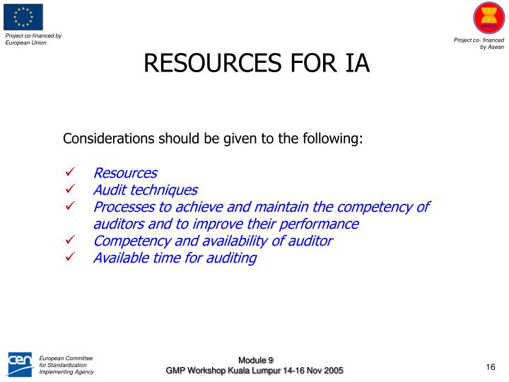 RESOURCES FOR IA